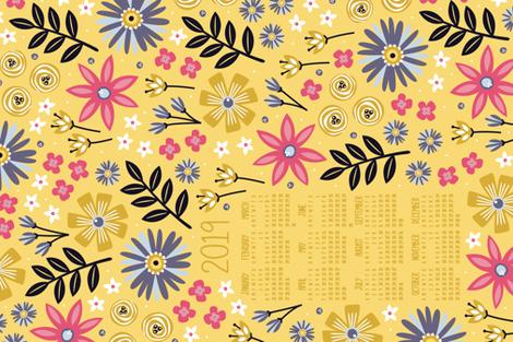 2019 Garden Joy Tea Towel Calendar (Gold) fabric by robyriker on Spoonflower - custom fabric