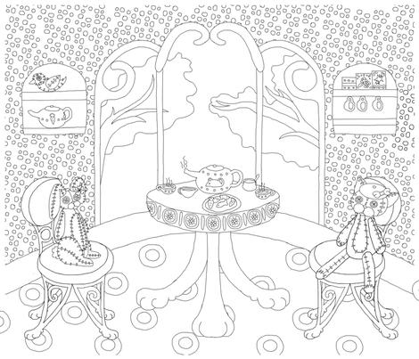 Chappy and Neko Plushie Tea Time fabric by chappy_and_neko on Spoonflower - custom fabric