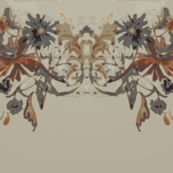 Scroll floral in antique cream