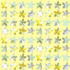 My Frangipani Quilt greens on yellow