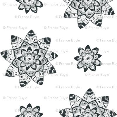 Mandala black and white seamless pattern