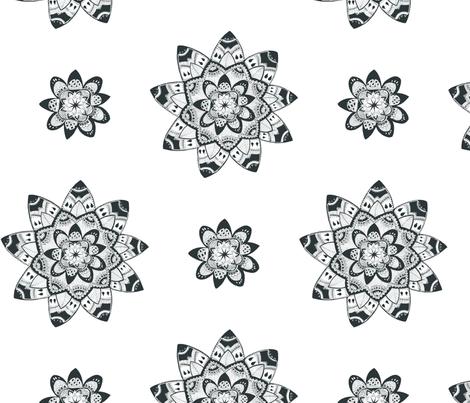 Mandala black and white seamless pattern fabric by fibracreativa on Spoonflower - custom fabric