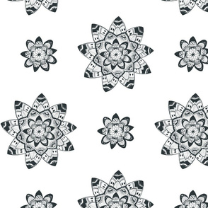 Mandala black and white seamless pattern
