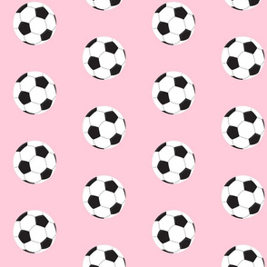 soccer white ball - pink - Large