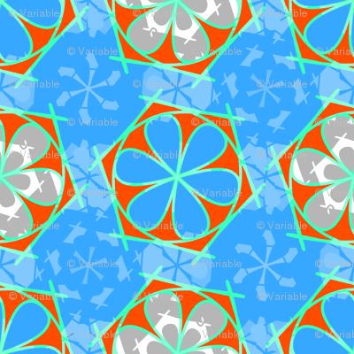 blue abstract flower statement