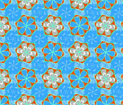 blue abstract flower statement fabric by variable on Spoonflower - custom fabric