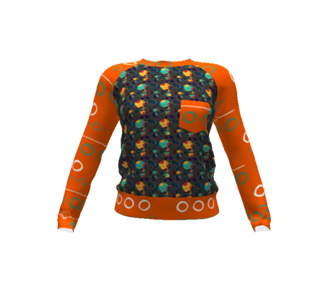 orange and turquoise dots with broken stripes