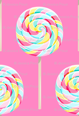 whirly pops -  multi pink - on bright pink