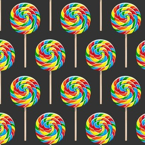 whirly pops -  OG on grey - lollipop fabric