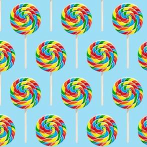 whirly pops -  OG on blue - lollipop fabric