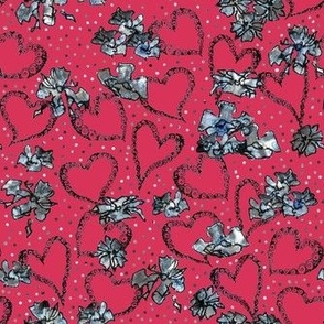 Heart Pattern on red