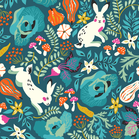 Autumn harvest and hares pattern fabric by solnca_lych on Spoonflower - custom fabric