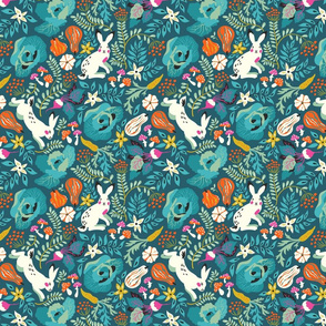 Autumn harvest and hares pattern