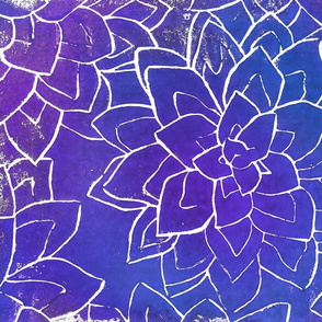Succulent block print Ultra Violet