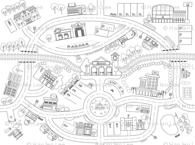 Mini Town Playmat roadmap 47x35in