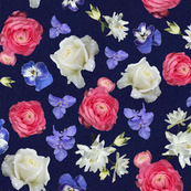 Roses Ranunculus Pansy on Navy Large