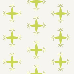 Retro Oval Shapes in Chartreuse, Spikes,