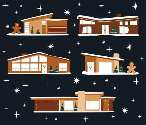Mid-Century Modern Gingerbread Houses fabric - catnamedfish ...