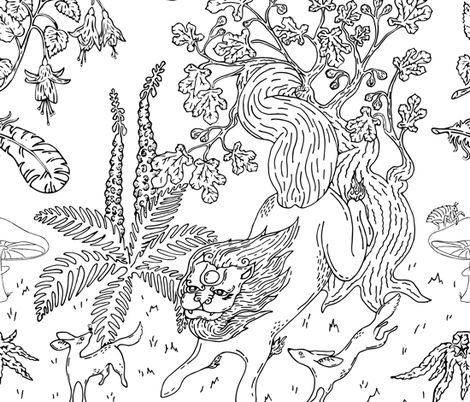 F Is  For Foo Dog, Fox & Fern fabric by bowerbirdhouse on Spoonflower - custom fabric