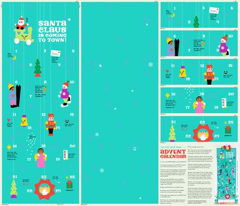 Santa Advent Calendar fabric by cerigwen on Spoonflower - custom fabric