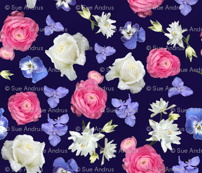 Rose Ranunculus Pansy on Navy Medium