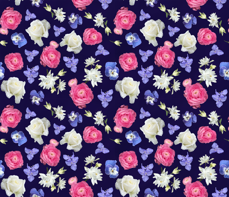 Rose Ranunculus Pansy on Navy Medium fabric by andrusgardens on Spoonflower - custom fabric