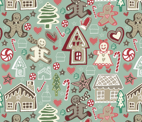 Gingerbread Village fabric by slumbermonkey on Spoonflower - custom fabric
