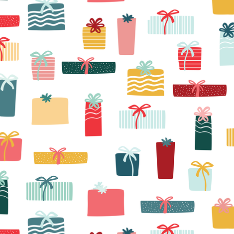 Christmas gifts multicolor 2 fabric by lburleighdesigns on Spoonflower - custom fabric