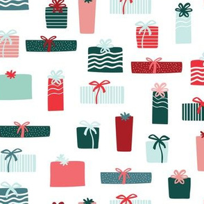 Christmas gifts in red blue and green