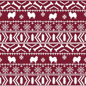 japanese spitz fair isle silhouette christmas fabric pattern ruby