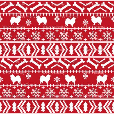 japanese spitz fair isle silhouette christmas fabric pattern red