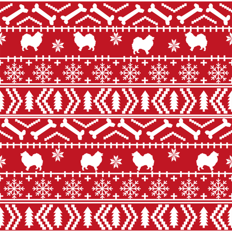 japanese spitz fair isle silhouette christmas fabric pattern red fabric by petfriendly on Spoonflower - custom fabric