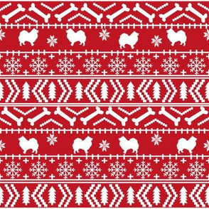 japanese spitz fair isle silhouette christmas fabric pattern red