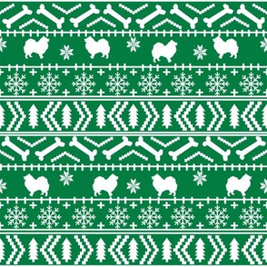 japanese_spitz fair isle silhouette christmas fabric pattern green