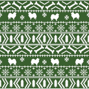 japanese spitz fair isle silhouette christmas fabric pattern med green
