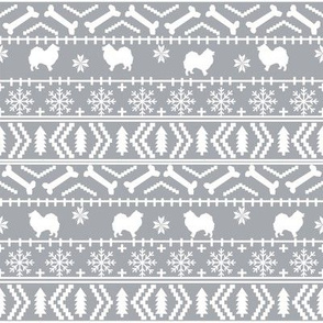 japanese spitz fair isle silhouette christmas fabric pattern grey