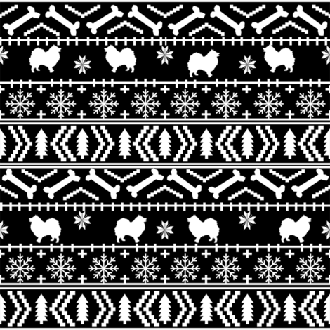 japanese spitz fair isle silhouette christmas fabric pattern black and white fabric by petfriendly on Spoonflower - custom fabric