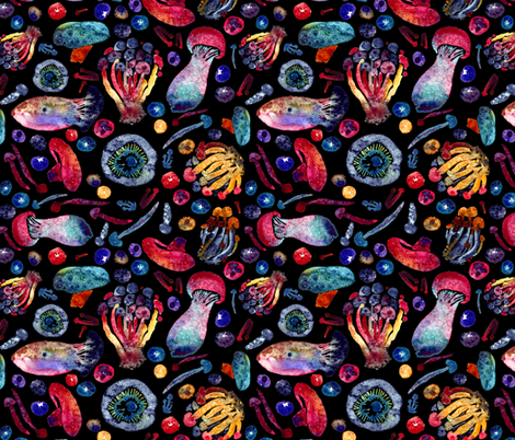 Mushrooms & Blueberries: Dark variant fabric by dwuff on Spoonflower - custom fabric