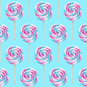 whirly pops - purple and blue on blue - lollipop fabric