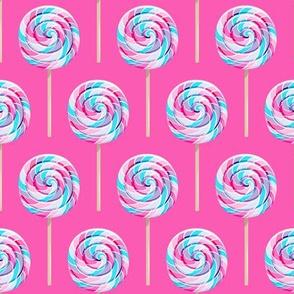 whirly pops - purple and blue on pink - lollipop fabric