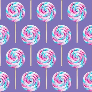 whirly pops - purple and blue on purple - lollipop fabric