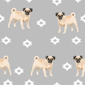 pug dog breed watercolor pet fabric popular dog lover gifts for pugs grey