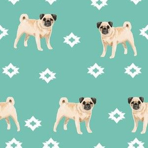 pug dog breed watercolor pet fabric popular dog lover gifts for pugs turquoise