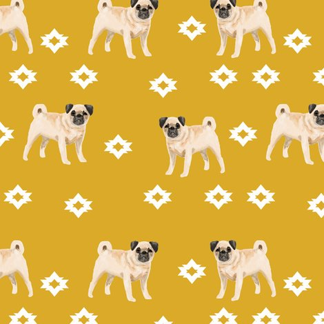 pug dog breed watercolor pet fabric popular dog lover gifts for pugs yellow