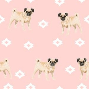 pug dog breed watercolor pet fabric popular dog lover gifts for pugs pink