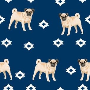 pug dog breed watercolor pet fabric popular dog lover gifts for pugs navy