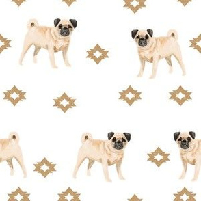 pug dog breed watercolor pet fabric popular dog lover gifts for pugs white