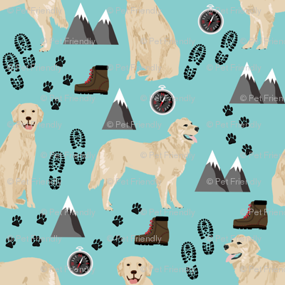 golden retriever dog fabric hiking and dogs design