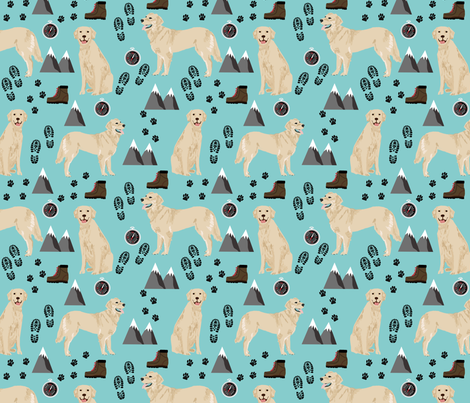 golden retriever dog fabric hiking and dogs design fabric by petfriendly on Spoonflower - custom fabric