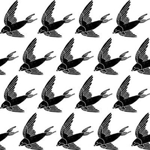 swallow // woodland bird nature animal swallows nursery fabric black and white